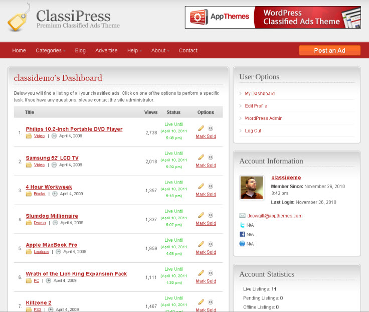 ClassiPress customer dashboard