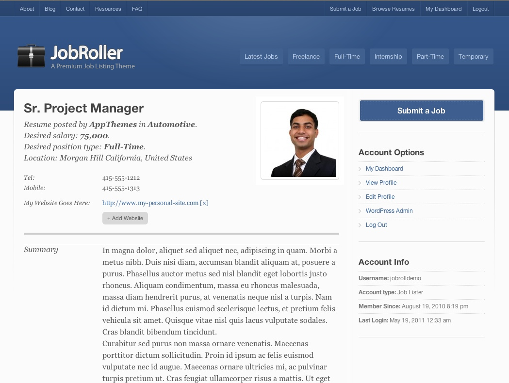Example resume job seeker