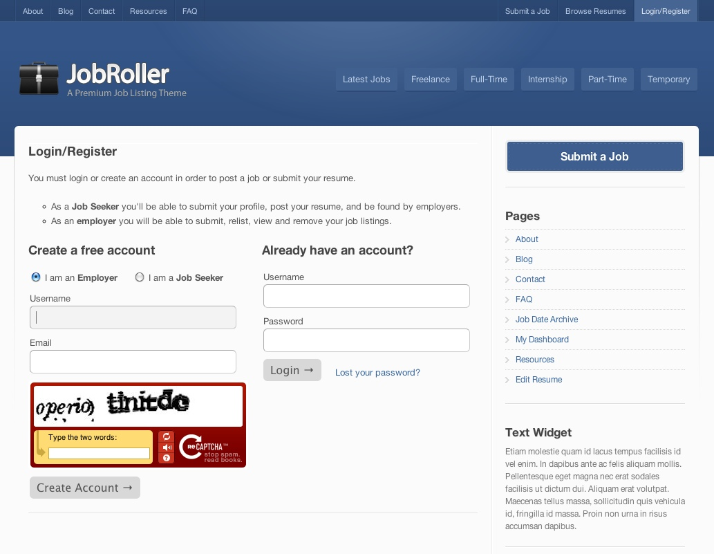 JobRoller Register Page
