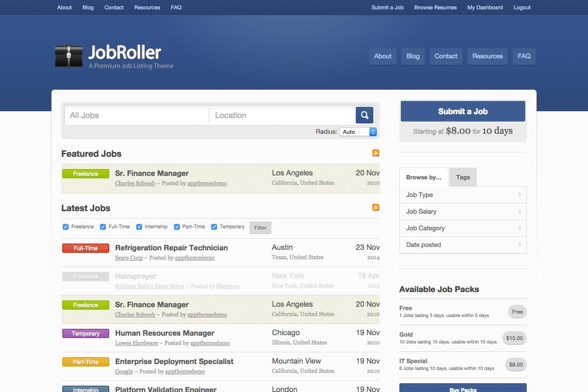 JobRoller WordPress theme screenshot