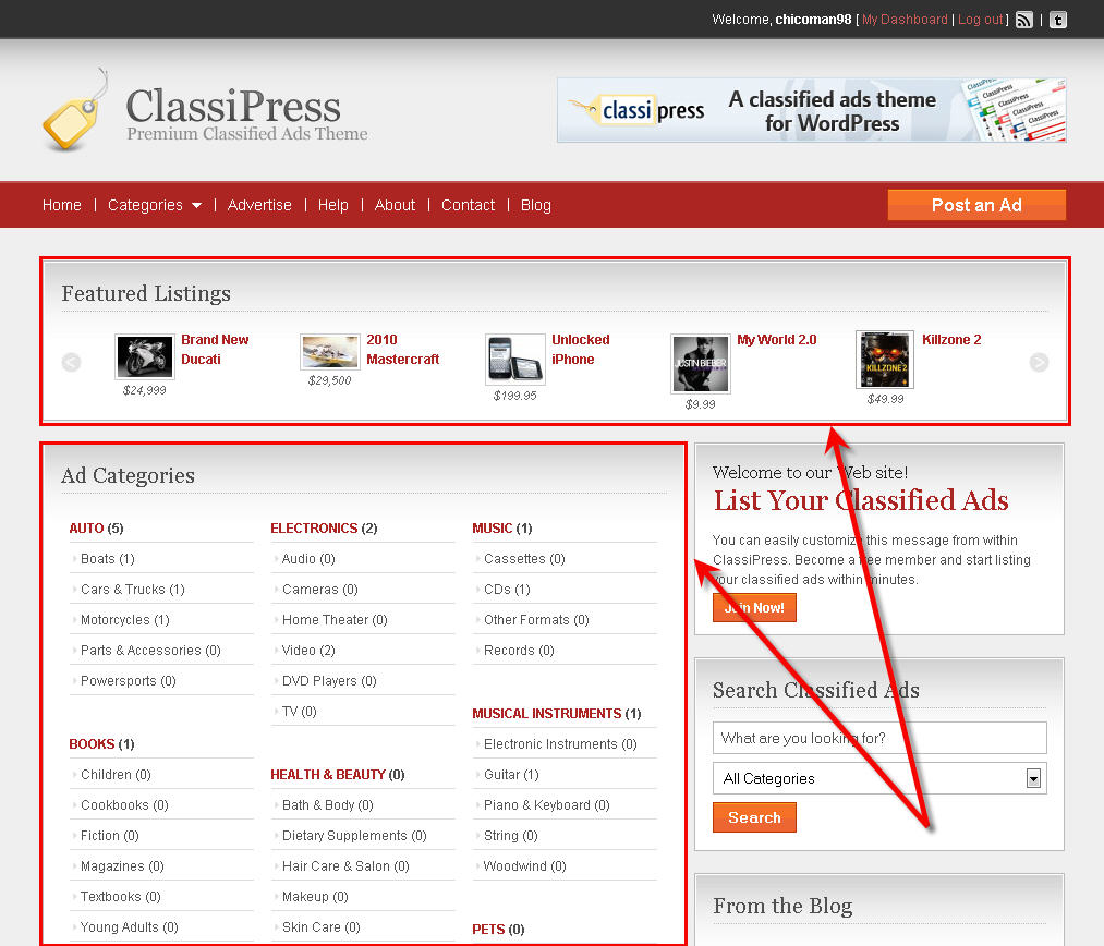ClassiPress homepage layout options