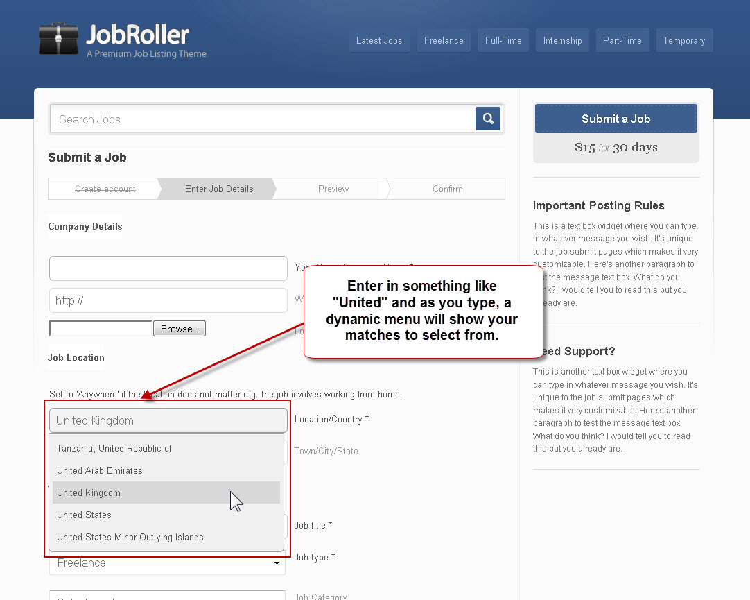 JobRoller AJAX & jQuery Effects