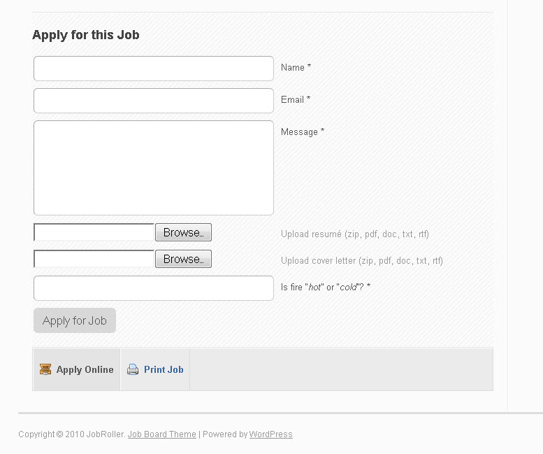 JobRoller Apply for Job Form