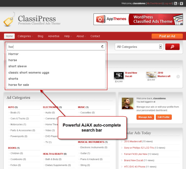 ClassiPress auto-complete search
