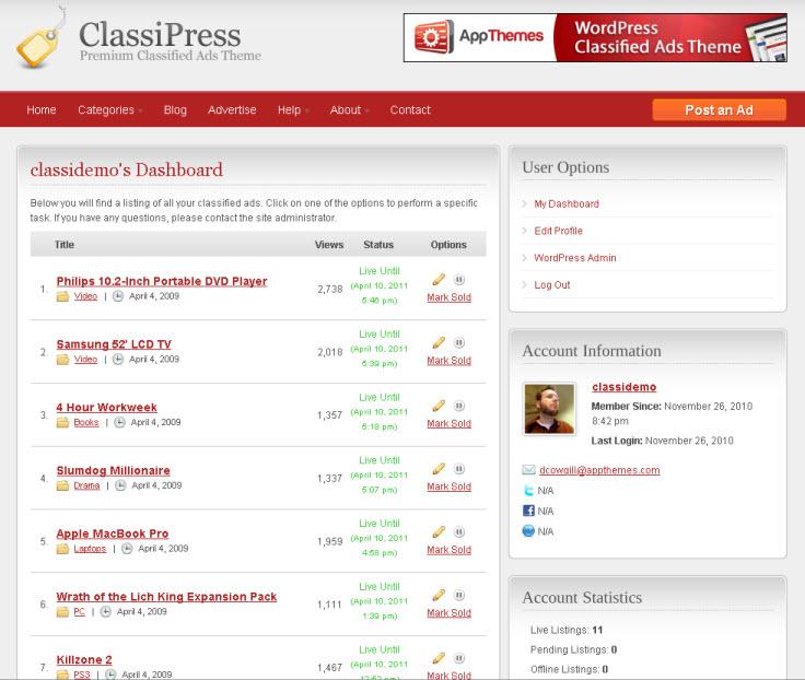 ClassiPress customer dashboard