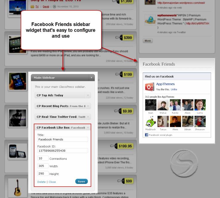 ClassiPress Facebook widget