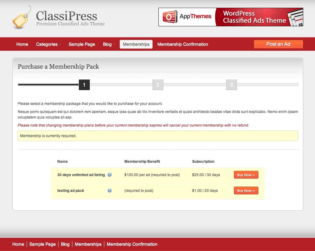 ClassiPress Membership Purchase