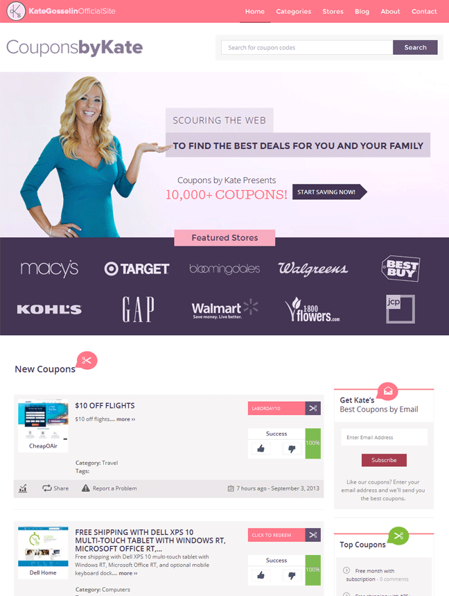 New Kate Gosselin coupon site powered by Clipper