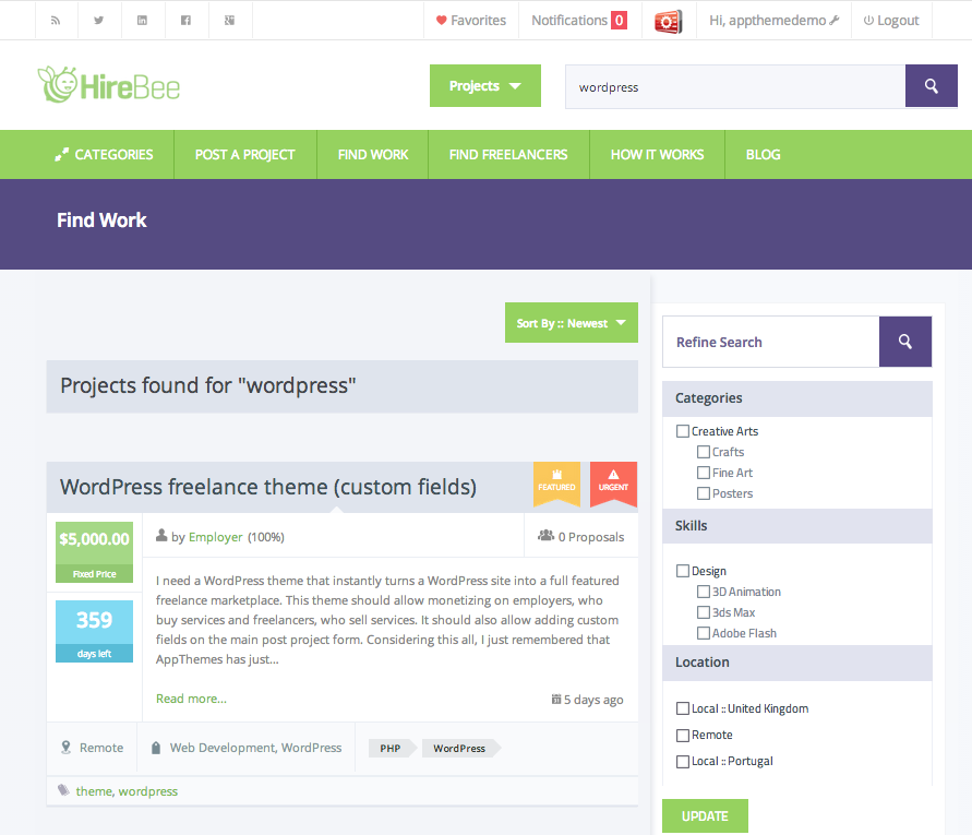 Announcing Our WordPress Freelance Marketplace Theme - HireBee
