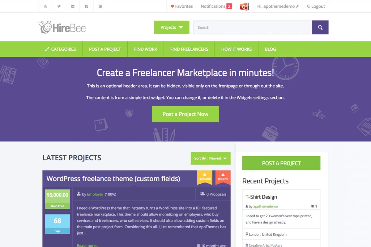 HireBee WordPress theme screenshot