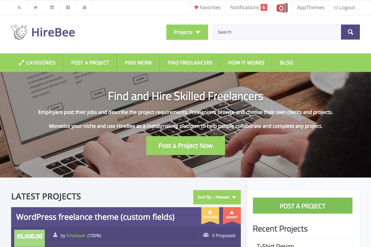 HireBeeTheme screenshot