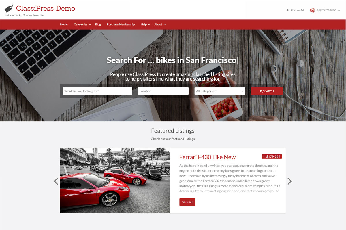 ClassiPress WordPress theme screenshot